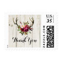 Antlers Floral Rustic Stamps Postage Thank You