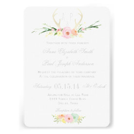 Antlers floral wedding invitation personalized announcement