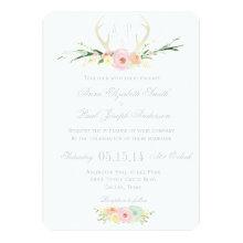 Antlers floral wedding invitation
