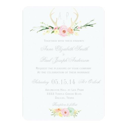 "Antlers floral wedding invitation 5"" X 7"" Invitation Card"