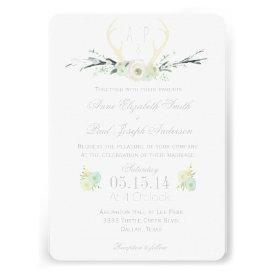 Antlers floral wedding invitation custom invitation