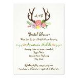 Antlers & flowers monogram wedding bridal shower 5x7 paper invitation card