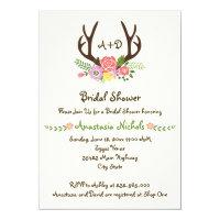 Antlers & flowers monogram wedding bridal shower card