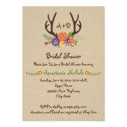 Antlers & flowers monogram wedding bridal shower 5