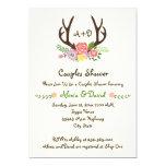 Antlers & flowers monogram wedding couples shower 5x7 paper invitation card