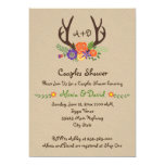 Antlers & flowers monogram wedding couples shower card