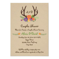 Antlers & flowers monogram wedding couples shower card