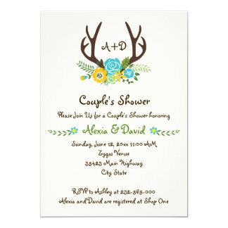 Antlers & flowers monogram wedding couples shower 5x7 paper invitation card
