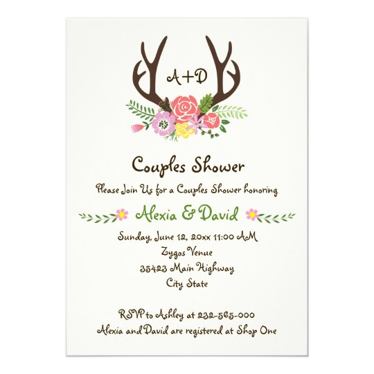 Antlers Flowers Monogram Wedding Couples Shower Invitation