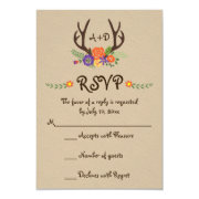 Antlers & flowers monogram woodland wedding RSVP 3.5