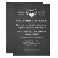 Antlers & Heart Tying The Knot Wedding Invitation