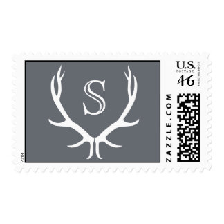 Antlers Monogram Wedding Stamp