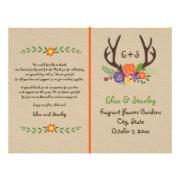 Antlers & orange flowers monogram wedding program 8.5