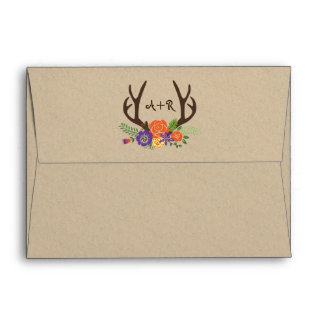 Antlers & orange flowers monogram woodland wedding envelope
