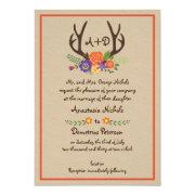 Antlers & orange flowers monogram woodland wedding 5