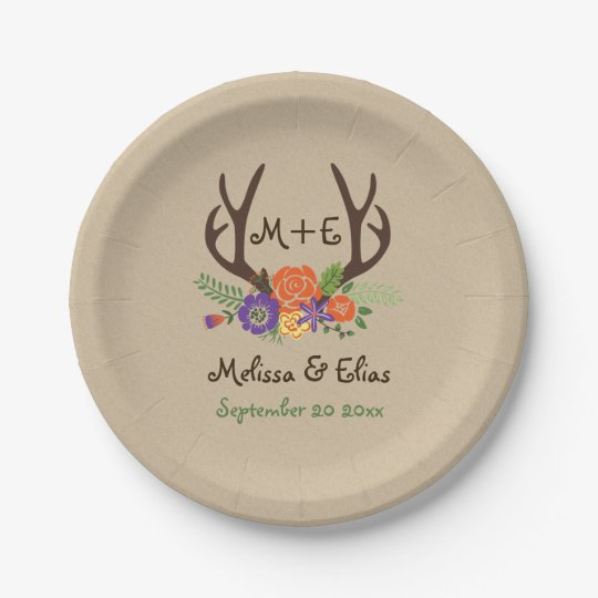 Antlers & orange purple flowers rustic wedding paper plate | Zazzle.com