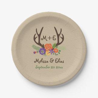 Antlers & orange purple flowers rustic wedding 7 inch paper plate