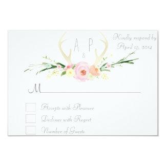 Antlers pink floral RSVP Card