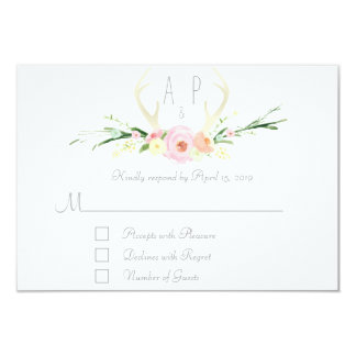 Antlers pink floral RSVP Card 2