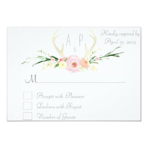 "Antlers pink floral RSVP Card 3.5"" X 5"" Invitation Card"