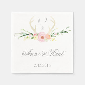 Antlers pink Floral Wedding Napkin