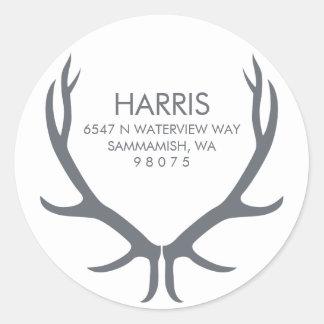 Antlers Return Address Label Classic Round Sticker