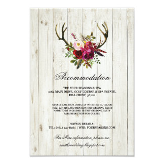 Antlers Rustic Accommodation Wood Wedding Cards