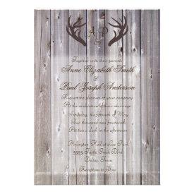 Antlers Rustic Wedding Invitation Barn Wood