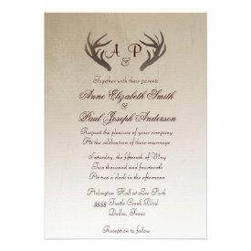 Antlers Rustic Wedding Invitation Brown Ombre