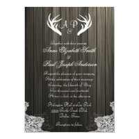Antlers Rustic Wedding Invitation Dark wood