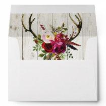 Antlers Rustic Wedding Invitation Envelopes