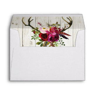 Antlers Rustic Wedding Invitation Envelopes