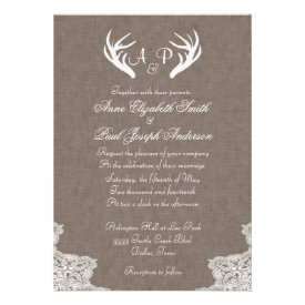 Antlers Rustic Wedding Invitation Fabric and Lace Announcements