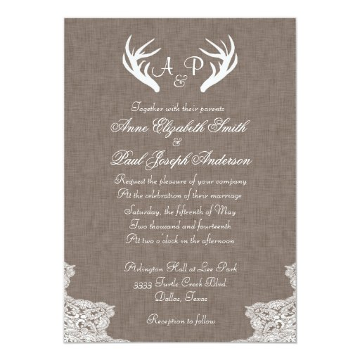 """Antlers Rustic Wedding Invitation Fabric and Lace 5"""" X 7"""" Invitation Card"""