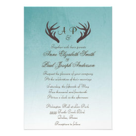 Antlers Rustic Wedding Invitation Ombre Teal