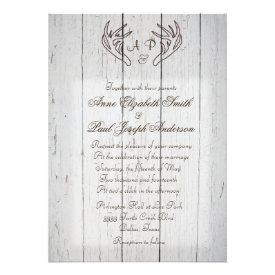 Antlers Rustic Wedding Invitation White Wood