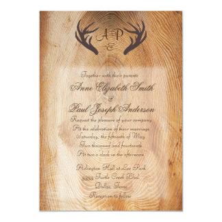 Antlers Rustic Wedding Invitation Wood Ring
