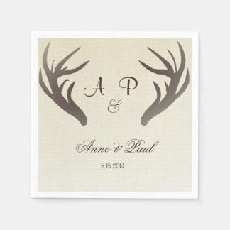 Antlers Wedding Napkin Ombre Beige