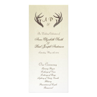 Antlers Wedding Program Ombre Beige Customized Rack Card