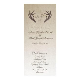 Antlers Wedding Program Ombre Brown