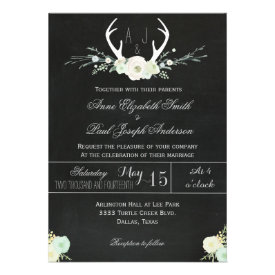 Antlers white floral chalkboard wedding invitation custom invites