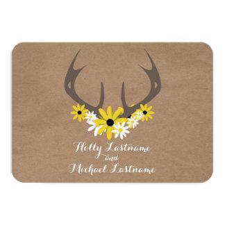 Antlers + Wildflowers Cardboard Inspired RSVP Card