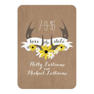 Antlers + Wildflowers Cardboard Inspired Save Date Card
