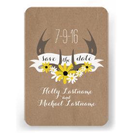 Antlers   Wildflowers Cardboard Inspired Save Date Custom Invites