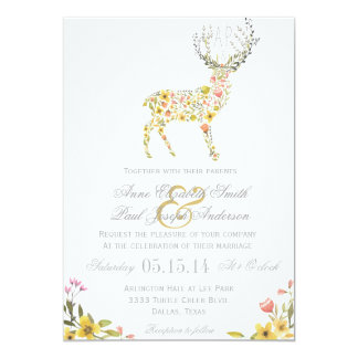 Antlers yellow floral wedding invitation