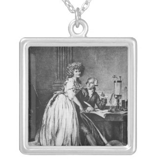 Antoine Laurent Lavoisier  and his wife Square Pendant Necklace
