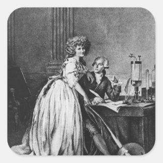 Antoine Laurent Lavoisier y su esposa Pegatina Cuadrada