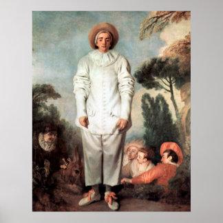 ANTOINE WATTEAU - Pierrot (Gilles) 1719 Poster