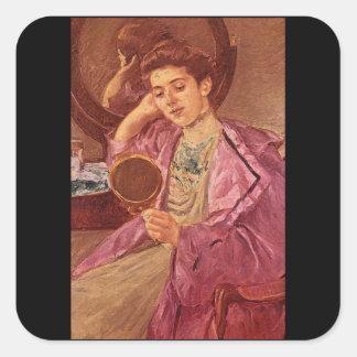 Antoinette at her Dresser Square Sticker