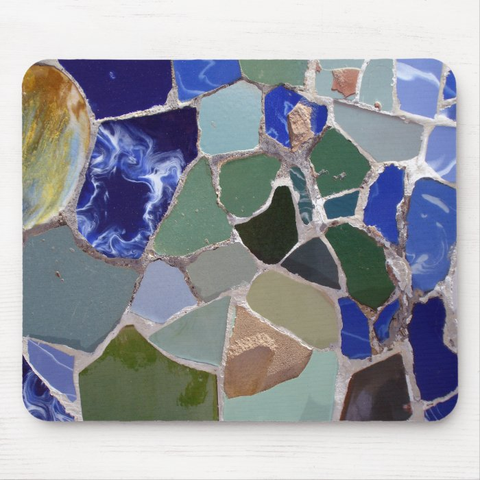Antoni Gaudi Blue Mosaics Mouse Pad